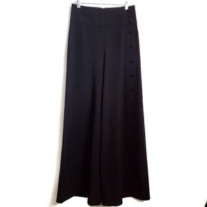 Black Hiwaisted Wide Legged Flare Dress Pants
